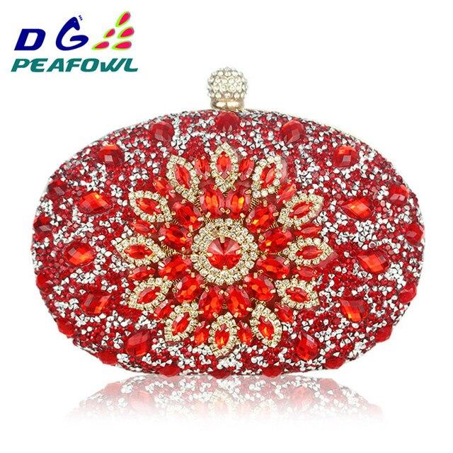 Luxe Clutch keten zak vrouw wedding diamond crystal Bloemen blauw rood Sling designer portemonnee mobiele telefoon zak portemonnee Handtassen
