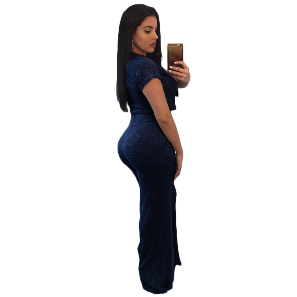317201509d50 YJSFG HOUSE Sexy Women Short Sleeve Bodycon Knitted Cotton Club Party  Casual Jumpsuit Rompers 2pcs Outfit Sportswear-in Women s Sets from Women s  Clothing ...