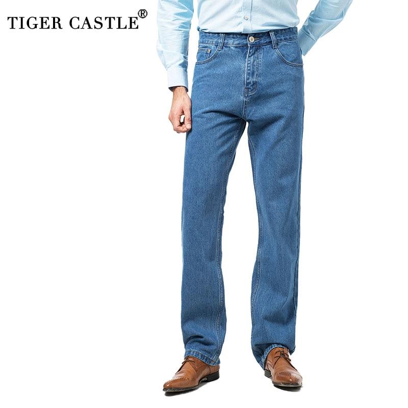 2018 New 100% Cotton Mens Businees   Jeans   Classic Male Long Blue Denim Pants Spring Autumn Men Brand Regular Fit   Jeans   Size 28-42