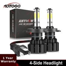 2PCS 4 Side H4 LED Car Headlight Led Fog Light Headlamp Bulb 80W 8000LM 6500K H1 H7 H8 H9 H11 9005 HB3 9006 HB4 9007 X16 set car fog light led headlights h7 80w 5600lm automobiles headlamp h8 h9 h11 hb3 9005 hb4 9006 h10 bulb auto front bulb
