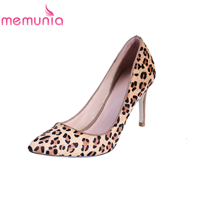 MEMUNIA women pumps Pointed toe stiletto high heels fashion sexy Four seasons shoes Genuine leather Leopard prom shoes elegant memunia flock pointed toe ladies summer high heels shoes fashion buckle color mixing women pumps elegant lady prom shoes