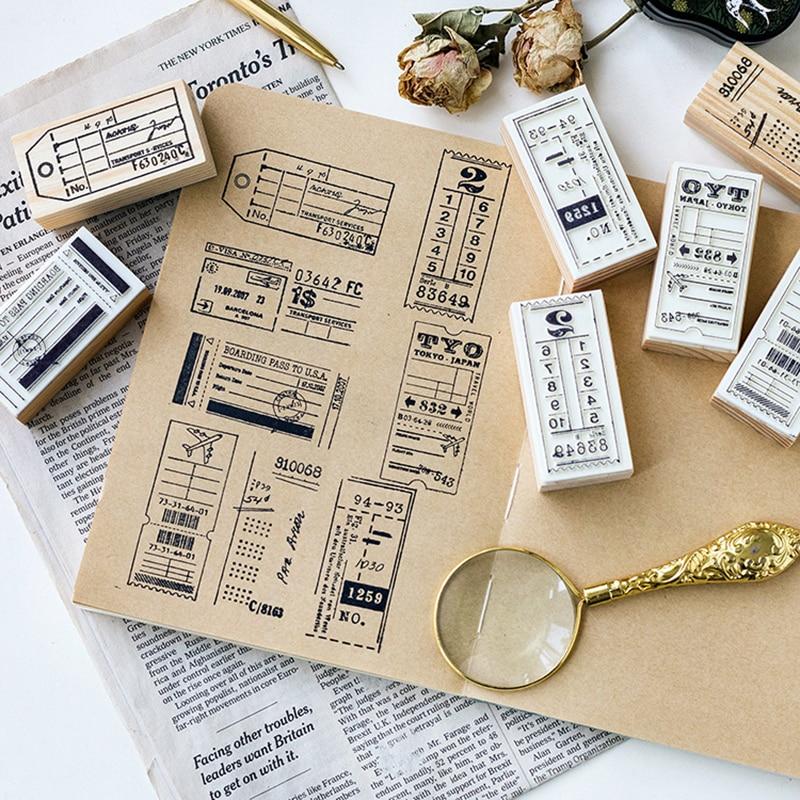 New vintage label bill student wood stamp DIY wooden ...