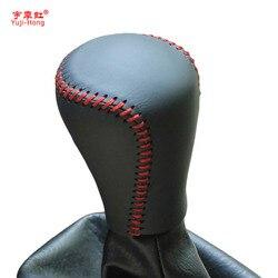 Yuji Hong biegów samochodu obejmuje sprawy dla Chery A3 2011 zmiany biegów prawdziwej skóry ręcznie szyte Auto pokrywa czarny