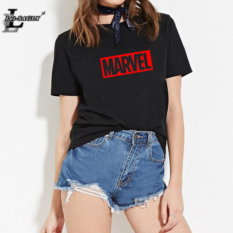 Lei SAGLY MARVEL SUPER HEROS T Shirt  Summer Women Short Sleeve Tshirt Casual Plus Size White Black Fashion Slogan Tee