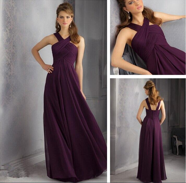 Sexy Halter Elegant long   Bridesmaid     Dresses   for weddings 2015 Pleat purple Chiffon Straps Vestidos De Festa Bandage   Dress