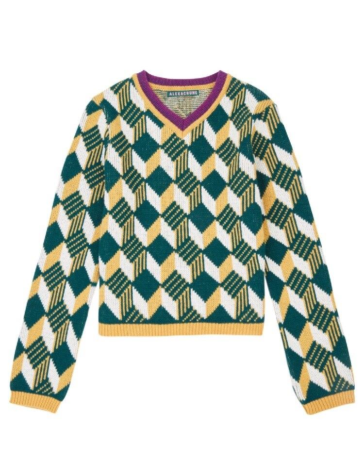 Colore Pieno Di Geometrico Scollo Lana Plaid V 2018 Maglione Pullover A Contrasto Nuovo Con RSxwI