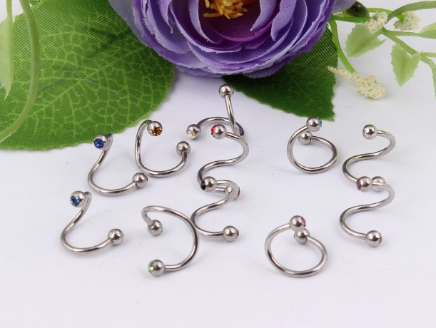 NS52010 free shipping 50pcs/lot multi functions as ear stud eyebrown lip rings curved nose rings Indian body Jewelry
