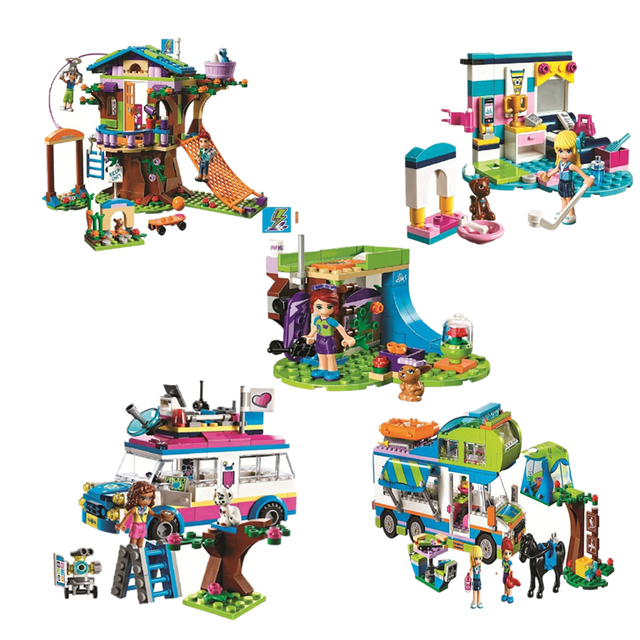 Friends Series Heart Lake City Girls Club Street Building Blocks Pink Cake Cafe Blue Camper Compatible Legoings Friends Toys