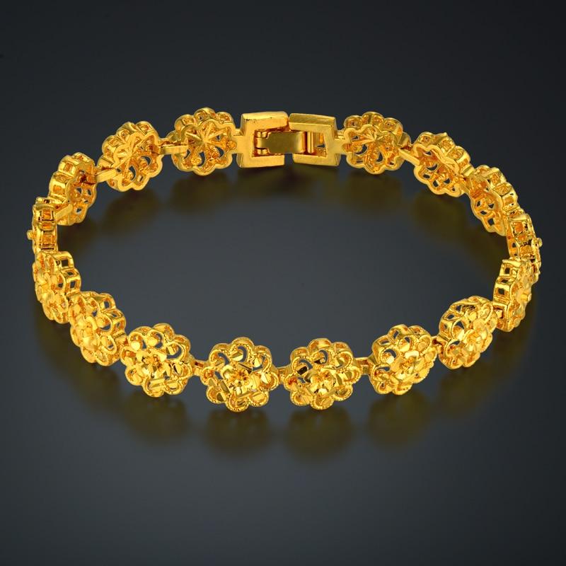 Classic Ethnic Prom Flower Gold Bracelet Female Gold Color Hot Brand