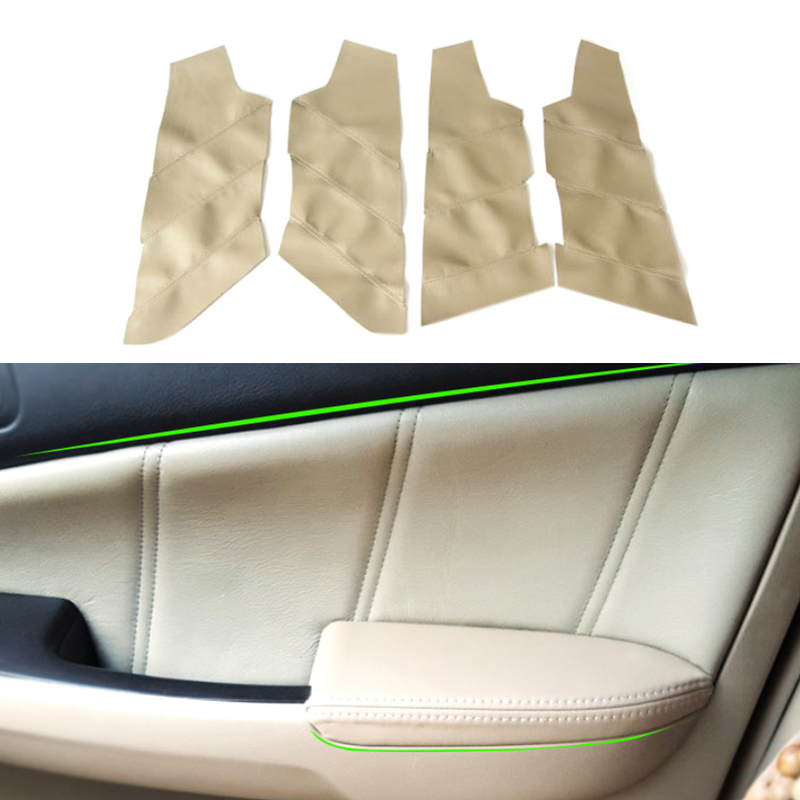4x Interior Door Armrest Panel Leather Cover For Honda Accord 7th Gen 2003-2007
