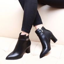 Pointed Toe High Heel Women Boots Fashion Zipper Cheap Plus Size Ankle Boots Women Shoes Short Plush Boots Shoes Woman CH-A0102 недорого