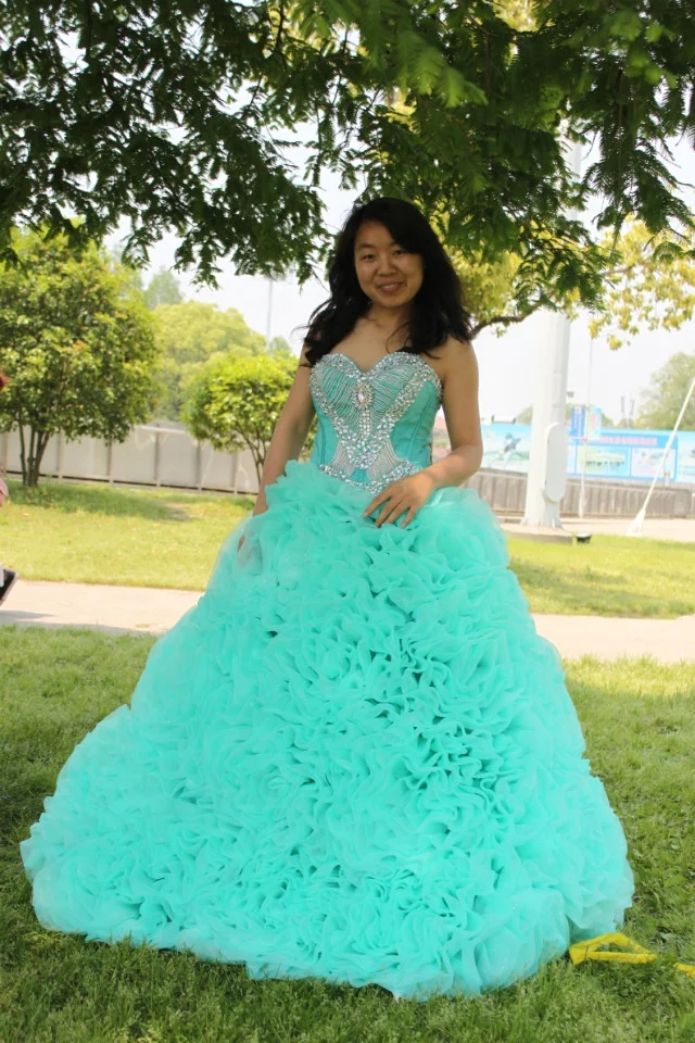 kejiadian Sweet 16 Princess beading Sweetheart Quinceanera Dresses White And Blue Masquerade Ball Gowns 15 Years Dress Cheap