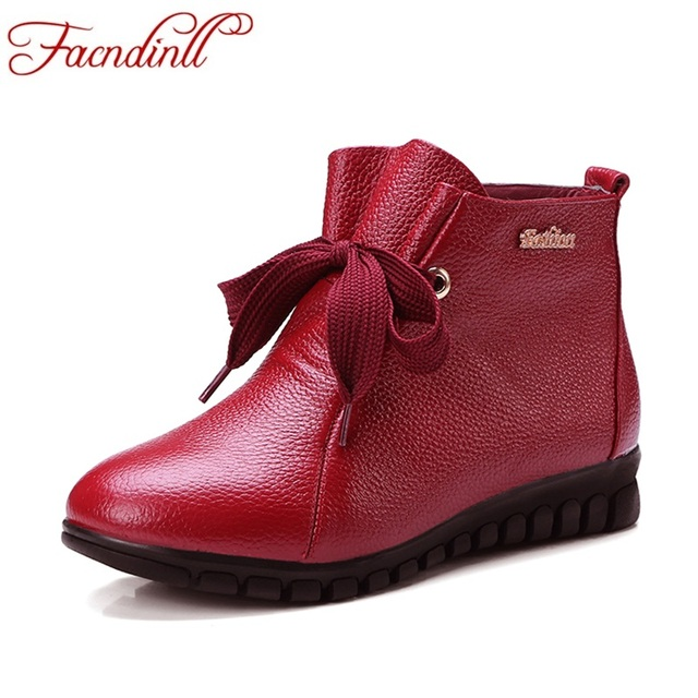 FACNDINLL new fashion women ankle boots shoes autumn winter warm low heels round toe shoes woman black red casual riding boots