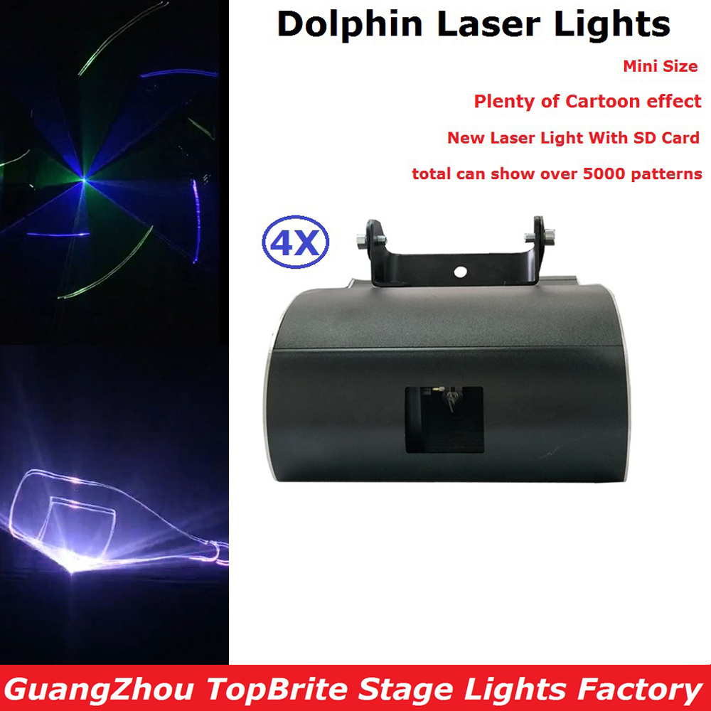 4Pcs/Lot Mini LED Laser Disco Stage Lights Party Dj Christmas Entertainment Lighting Projector With SD Card Fast Shipping rg mini 3 lens 24 patterns led laser projector stage lighting effect 3w blue for dj disco party club laser