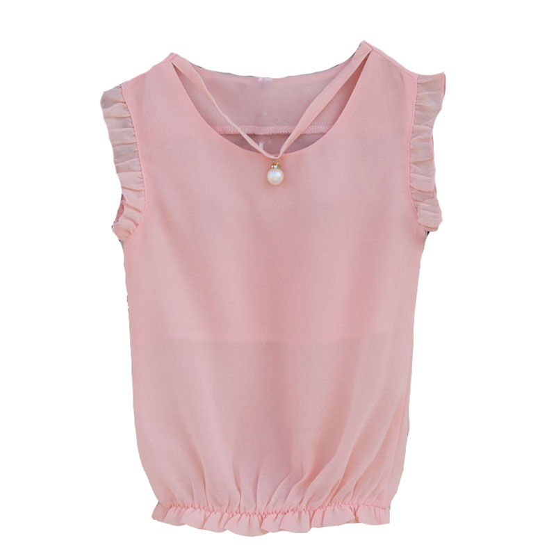 Girls Blouses Sleeveless Chiffon Shirts For Girls School Uniforms Summer Children Tops Students Clothes 2 4 6 8 9 10 12 14 Years navy round neck 3 4 length sleeves chiffon blouses
