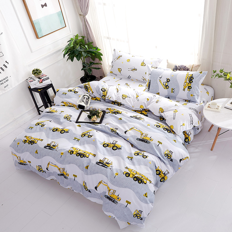 Excavating machinery Print Boys Birthday Gift Duvet Cover Sets Twin Queen King Size