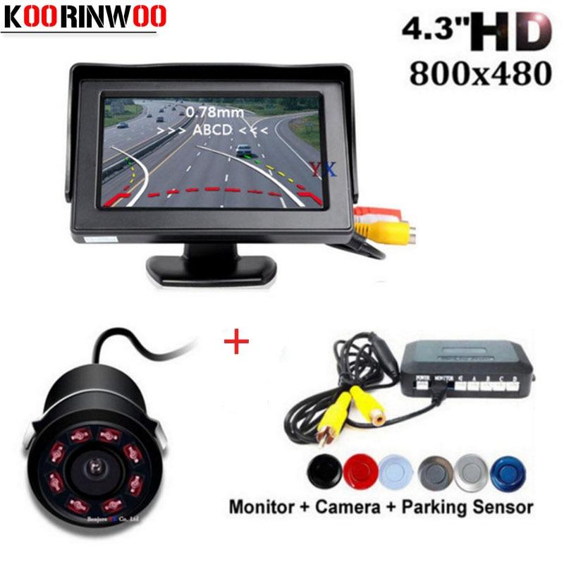 Koorinwoo Senza Fili Auto Sensori di Parcheggio traiettoria Mobile Guida di Parcheggio telecamera di Retromarcia Radar Auto Monitor Parktronic Rivelatore