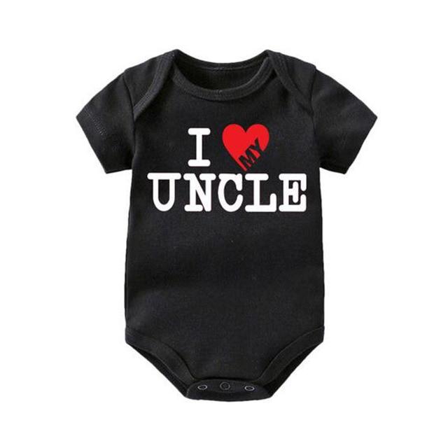 Bonito Engraçado EU Amo Meu Tio da Criança Uma Peça Presente Do Divertimento da Criança Infantil Do Bebê Bebês Romper Natal Da Família Da Criança Macacão infantil