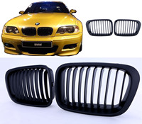 1 Pair Matte Black Front Kidney Grille Grill For BMW E46 Sedan 4 Door 4D 3Series 1998 1999 2000 2001 //