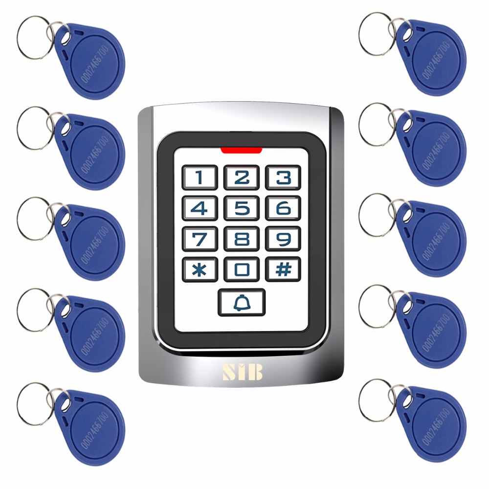 10pcs RFID Cards+RFID 125Khz EM Card Door Access Control Metal case Silicon Keypad Security Entry F1331 metal rfid em card reader ip68 waterproof metal standalone door lock access control system with keypad 2000 card users capacity