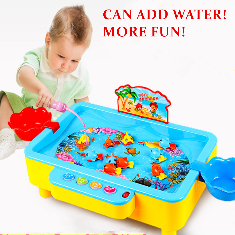 20 Fishes Add Water Electric Rotating Magnetic Magnet Fish Kid Child Educational Toy Go Fishing Game Children Interactive Game# new 14 fishes 2 fishing rods wooden children toys fish magnetic pesca play fishing game tin box kids educational toy boy girl