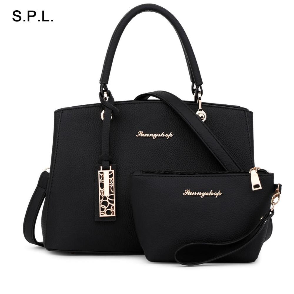 S.P.L. Brand 2017 New PU Women Bag Fashion Leisure Handbag Shoulder Bag Composite Saffiano Ladies Tote Bag With Hallowed Metal