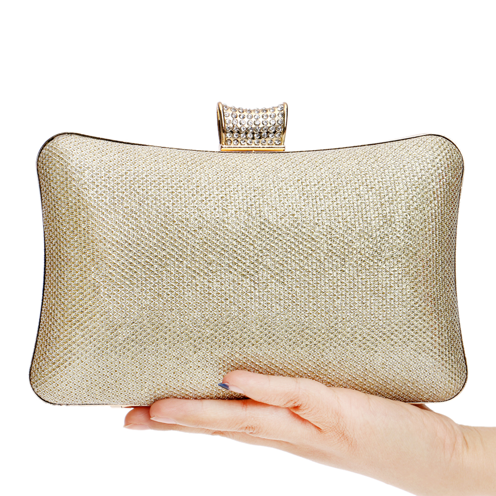 Simple Women Satin Rhinestone Evening Clutch Bags Ladies Day Clutches Purses