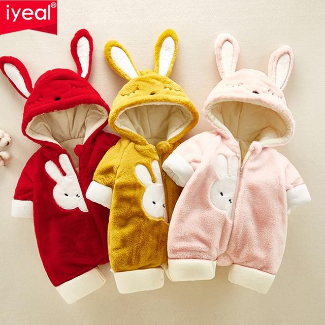 40f77de3cb17 IYEAL Kids Baby Clothes Flannel Baby Boy Clothes Cartoon Animal 3D Rabbit  Ears Jumpsuit Warm Newborn Infant Romper Outerwear