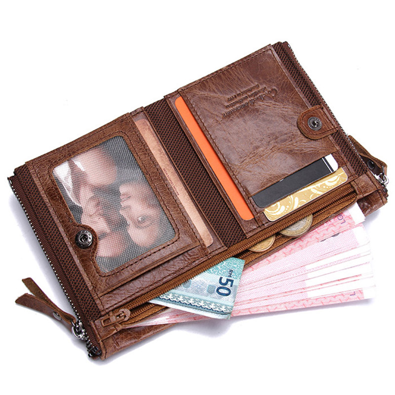 Image 3 - CONTACT'S HOT Genuine Crazy Horse Cowhide Leather Men Wallet Short Coin Purse Small Vintage Wallets Brand High Quality Designer-in Wallets from Luggage & Bags