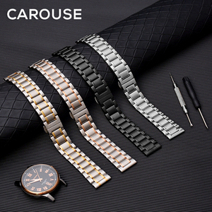 Image 5 - Carouse Calf Leather Watch Band Strap 12 13 14 15 16 17 18 19 20 21 22 23 24mm Stainless Steel Metal Watchband Combined sales