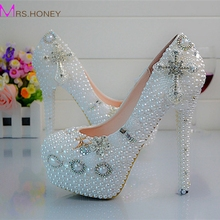 Crystal Wedding Shoes Cross Rhinestone Bridal Dress Shoes White Pearl Platform Shoes Birthday Party Prom Pumps
