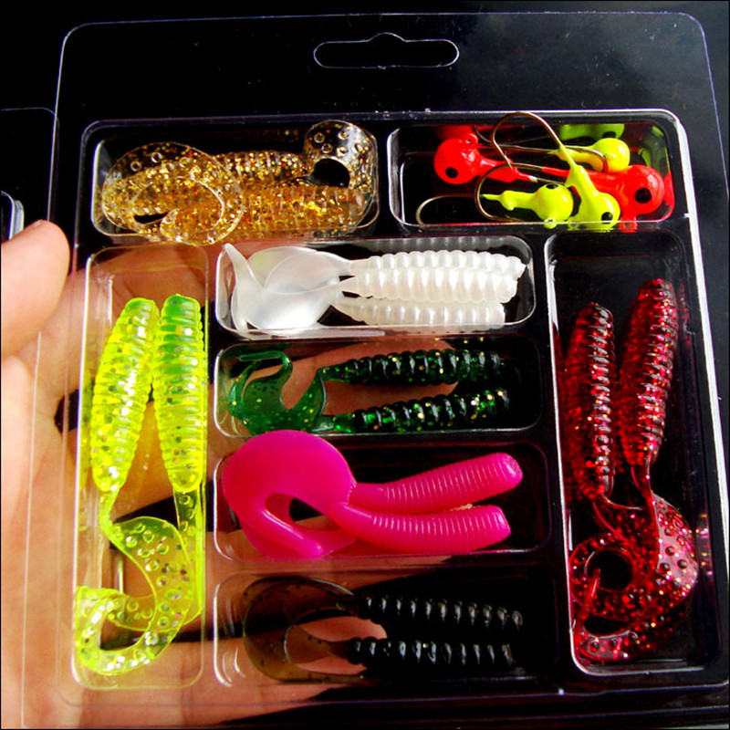 Y092 New Foreign Trade Road Asia soft bait set 20 pieces head lead hook soft insects Sca ...