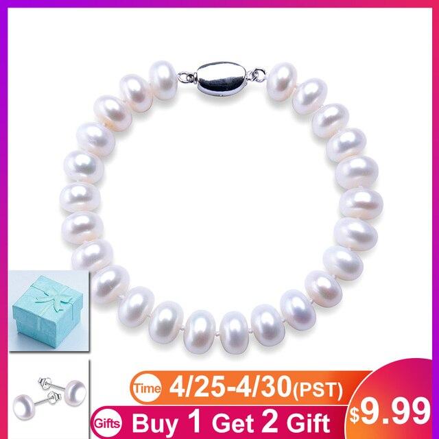 f25e993e2899 De alta calidad de perlas naturales de agua dulce pulseras para las mujeres  precio increíble de