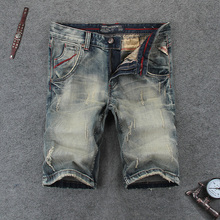 Italian Vintage Designer Fashion Men Short Jeans Retro Washed Classical Denim Shorts hombre Streetwear Hip Hop