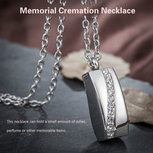 Stainless Steel Crystal Necklace Memorial Cremation Ashes Urn Necklace Locket Pendant Bone Ash Jewelry Women Colgante De Collar