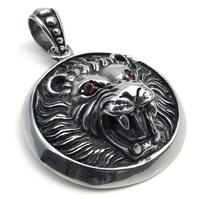 50 42 17mm Fashion 316L Stainless Steel Pendant Necklaces Die Casting Crystal Eyes Animal Lion Necklace