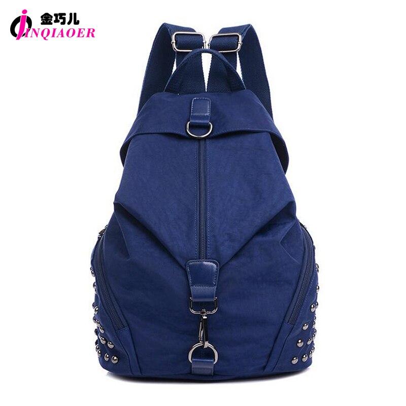 JINQIAOER New 2016 Casual Rivets Backpack Women Rucksack Waterproof Nylon Large Capacity Ladies Travel Backpack Girl School Bag