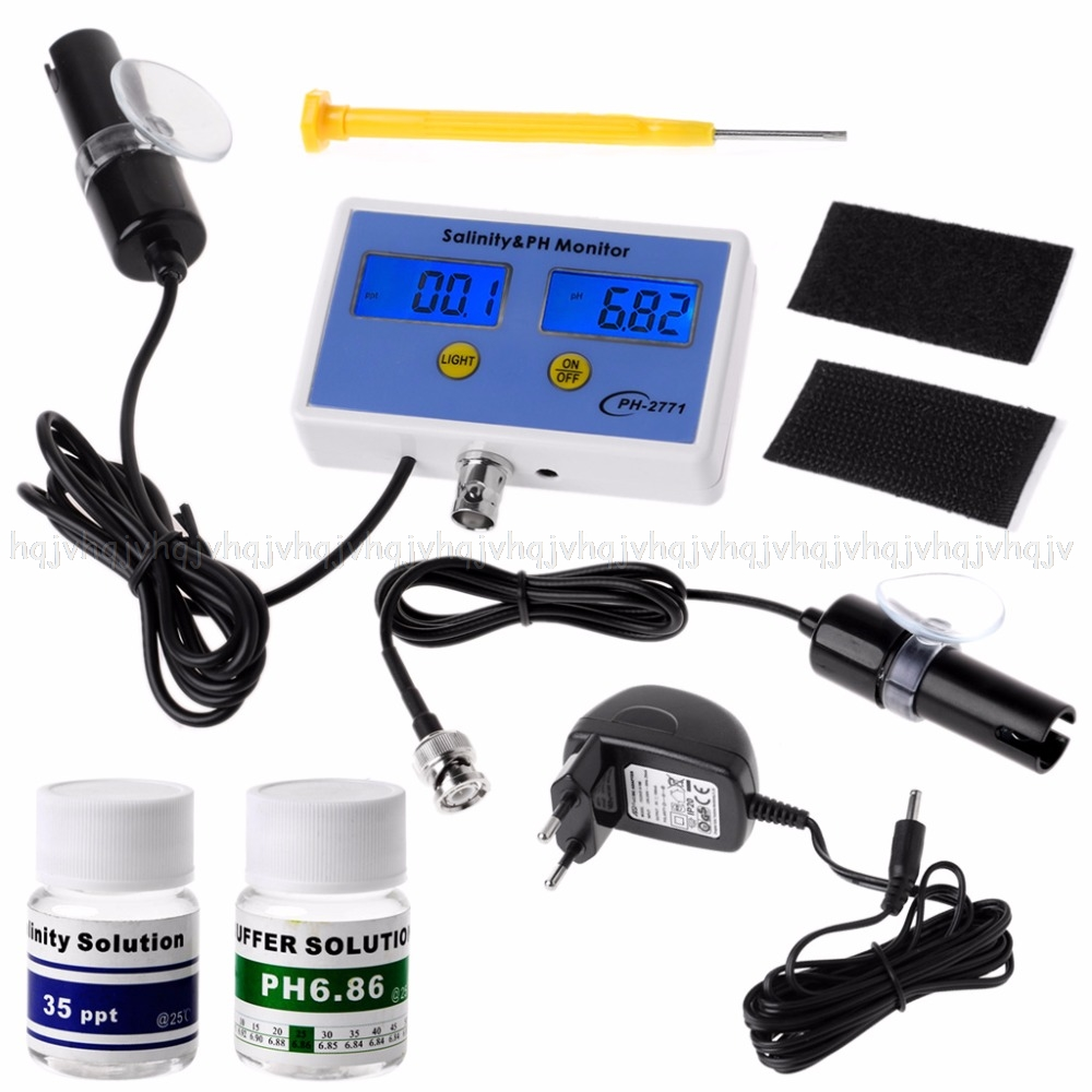 2in1 Digital Salinity & PH Meter Water Quality Monitor Test pH-2771 for Aquarium JUN16 dropship 5 digit digital electronic counter puncher magnetic inductive proximity switch jun16 dropship