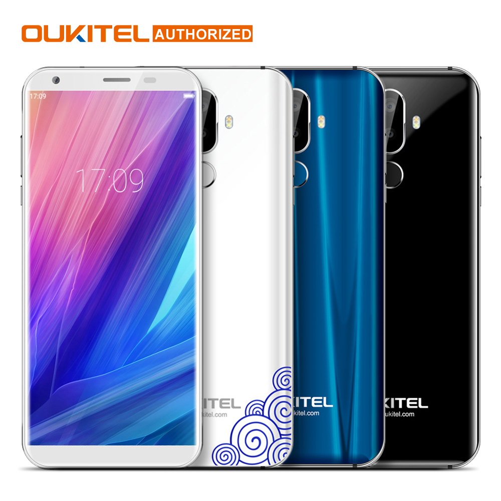"Oukitel K5 5.7"" 18:9 Display MTK6737T Mobile Phone Android 7.0 2G RAM 16G ROM Quad Core 4000mAh 3 Cameras Fingerprint Smartphone"