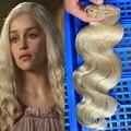 Clips loira #613 Cor Onda Do Corpo Brasileiro Em Extensões de Cabelo Humano Clipes No Cabelo Brasileiro Virgem Do Cabelo Humano Não Processado cabelo