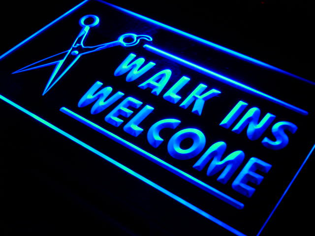i128 OPEN WALK INS WELCOME Hair Cut LED Neon Light Signs On/Off Switch 20+ Colors 5 Sizes