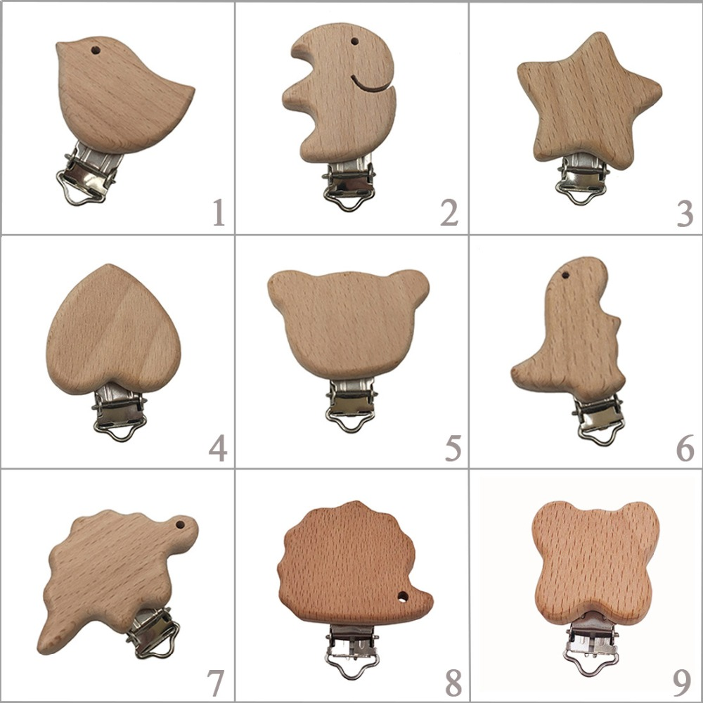 1pc New Arrival Lovely Wooden Pacifier Clip Natural Beech Wood Baby Pacifier Clips Dummy Clips DIY Pacifier Chain Accessory