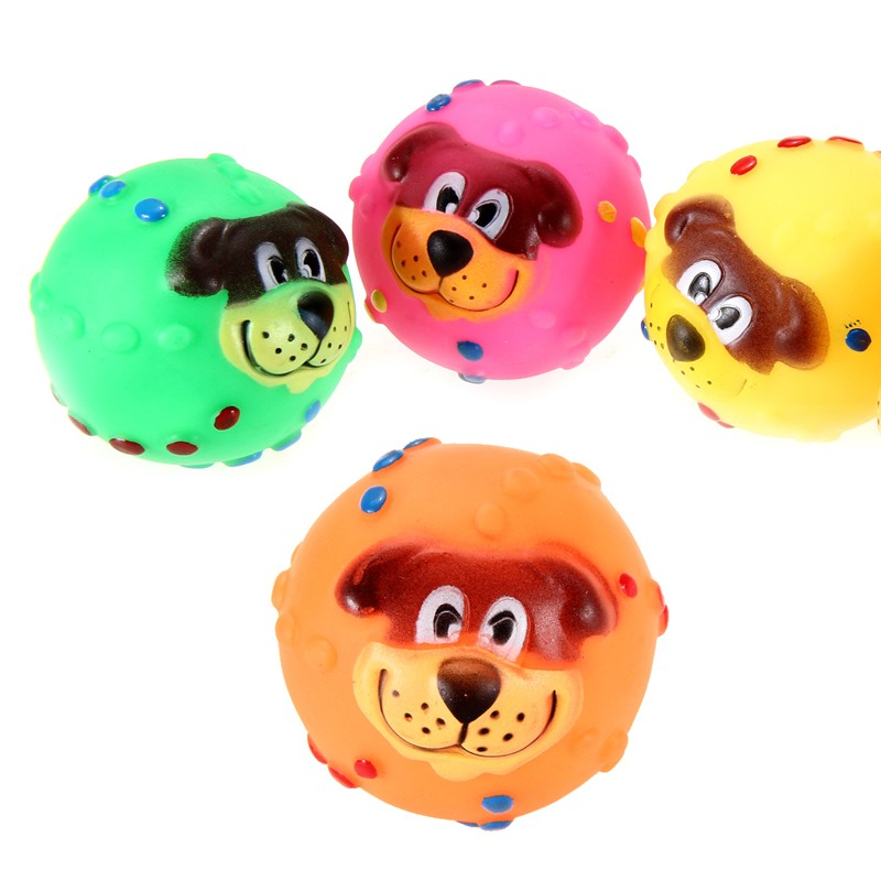 1 PC Practical Pet Dog Playing Toy Soft Rubber Dog Face ...