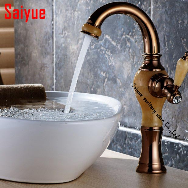 European hot and cold water bathroom faucet retro antique jade marble rose-gold copper table sink mixer tapEuropean hot and cold water bathroom faucet retro antique jade marble rose-gold copper table sink mixer tap
