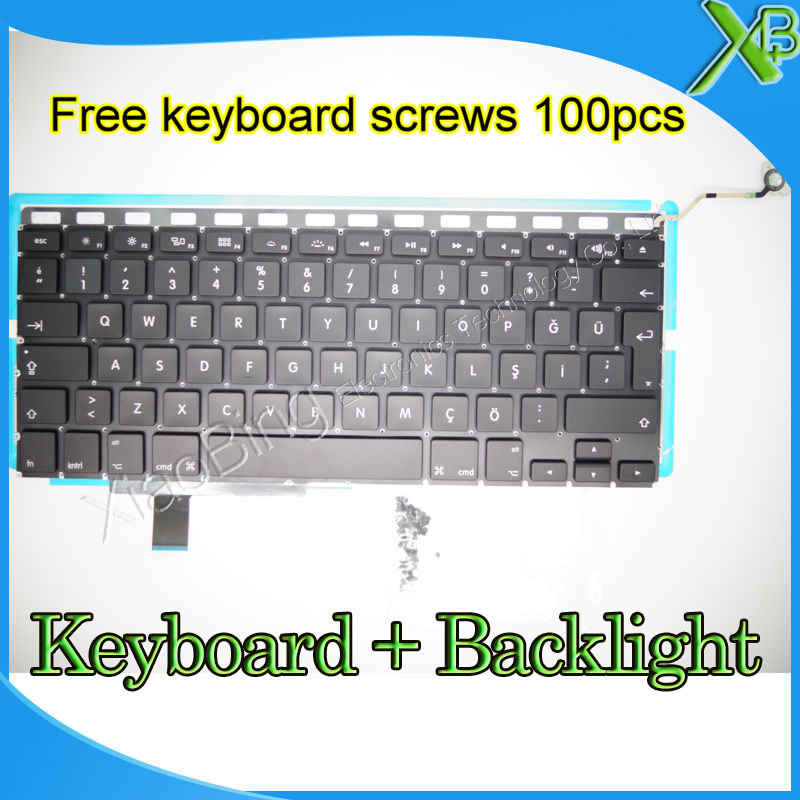 "Brand New For MacBook Pro 17.1 inch"" A1297 TR Turkish Turkey keyboard+Backlight Backlit+10keyboard screws 2008-2011 Years"""