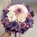 8 colores lavanda Rosette Artificial flor de la boda ramos de moda romántica boda 2016 broche ramos de la boda Accessies P13