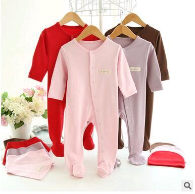 high quality cotton Newborn Baby Girl Clothes Kids Underwear Baby Rompers+Hats+ bibs Baby boys Clothing Sets Infant Jumpsuit