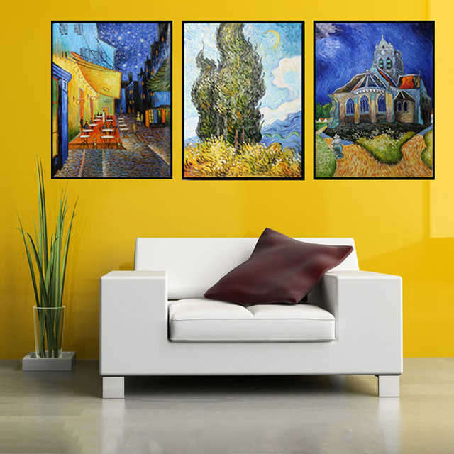 Hand Painted Home Decor Abstract Wall Art Picture Van Gogh Coffee Palette Thick Knife