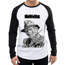 Mens Freddy Krueger T Shirt White Color Fashion Long Sleeve Scary Movie T-shirt Tops Tees tshirt Casual