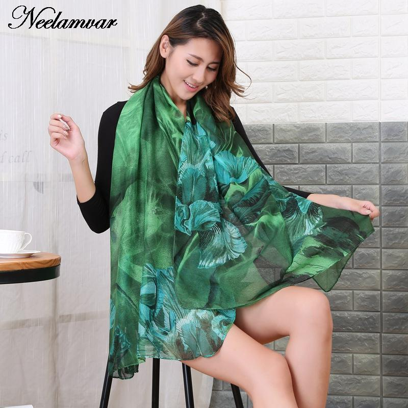 NOUVEAU Automne et Hiver écharpe femmes mode longue echarpe floral imprimé  foulards étoles dames chaud châles hijab et bufandas f8097afc3cd